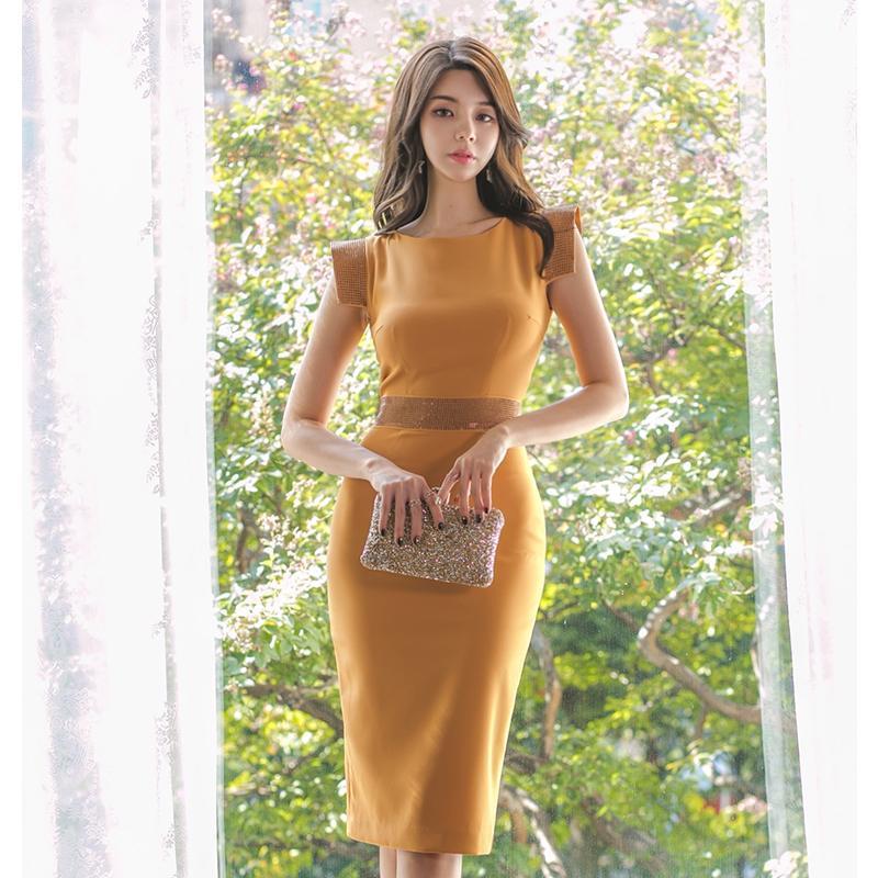 Las mujeres de Bodycon del partido Slim Fit atractiva del vestido de los vestidos sin mangas de la ropa de oficina señora Dresses Vestidos elegantes