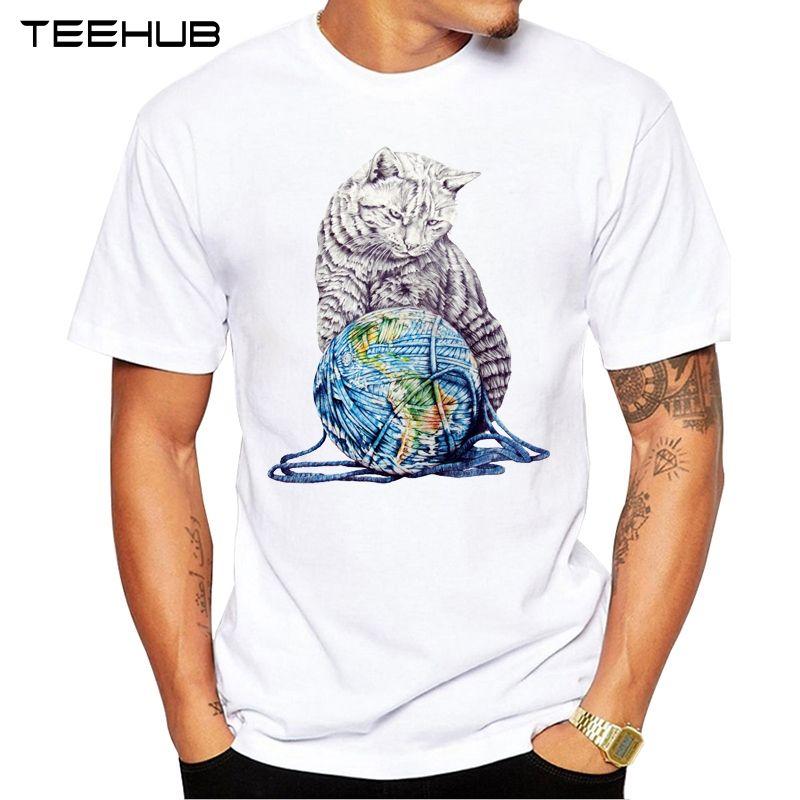 2020 TEEHUB Mode pour hommes Lazy Cat imprimé à manches courtes T-shirt Hipster O-cou design Tops Rafraîchissez Desgin Tee