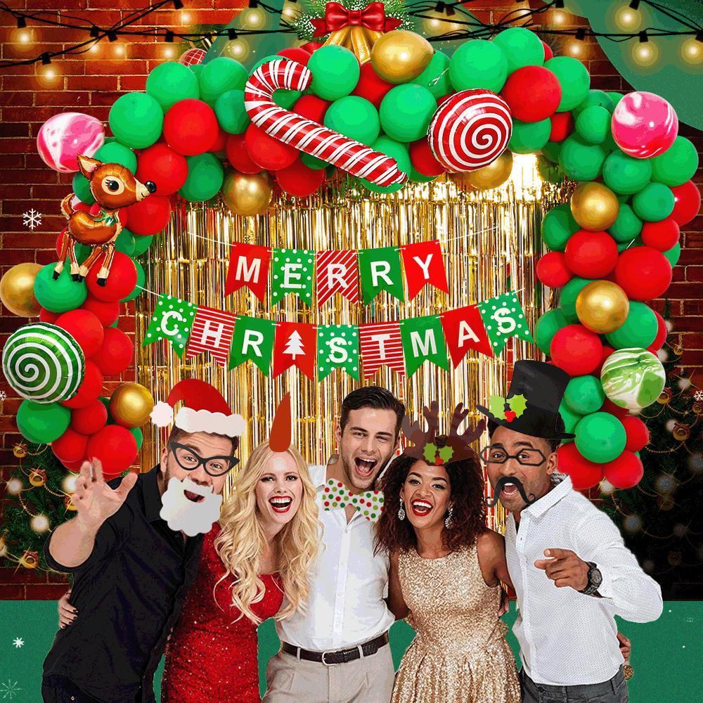 Noel Balonlar Noel Dekorasyon Balon Alüminyum Film Lateks Balon Kombinasyon Düzenlemesi Balon Noel Malzemeleri