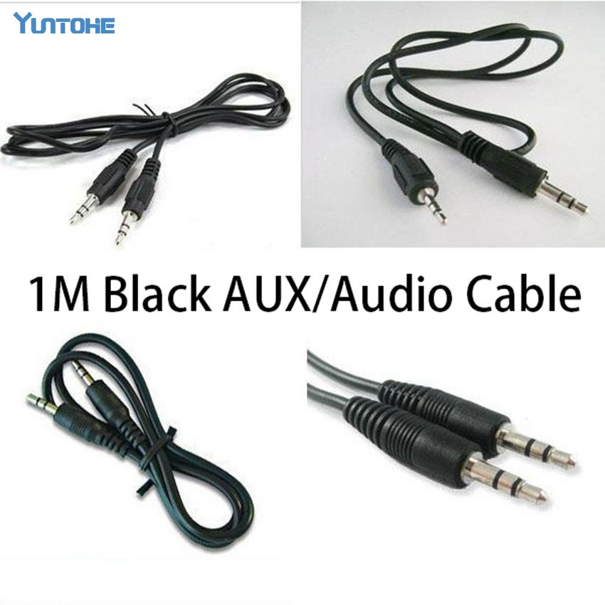 Atacado 1M mm pin 3,5 a 500pcs cor cabo de áudio stero AUX Headphone Jack Black / lot