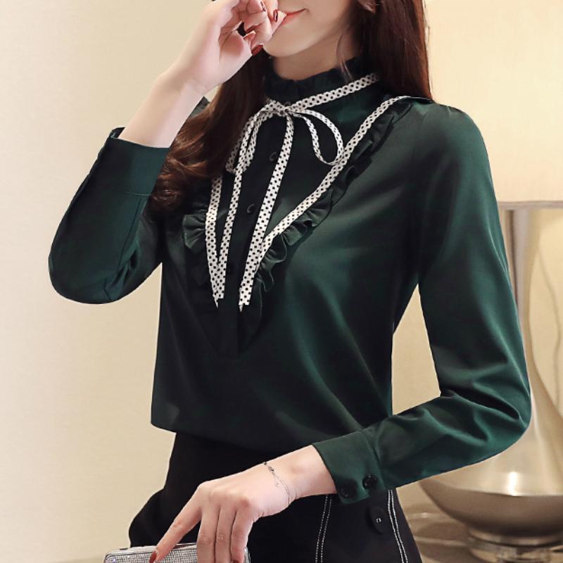 womens üstleri ve bluzlar yeşil şifon bluz gömlek ofis bluz kadın moda giyim uzun kollu bayan gömlek A918 womens
