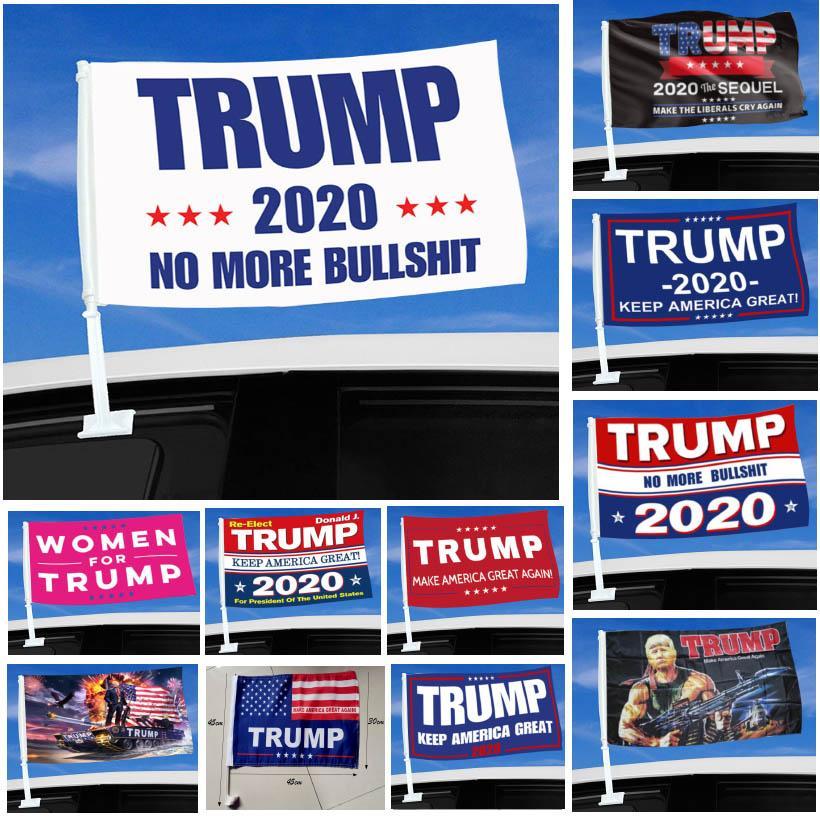 2020 Trump Car Flag 45 * 30cm Drapeau Élection présidentielle Trump US Flag fenêtre voiture, y compris 11 Styles Flagpole Choisir HH9-3303