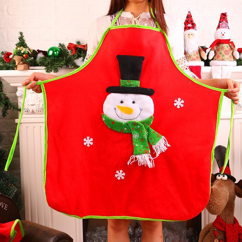 1PCS الأحمر عيد الميلاد المريلة أقمشة غير منسوجة المرايل المرايل الكبار الرئيسية مطبخ طبخ الخبز اكسسوارات التنظيف