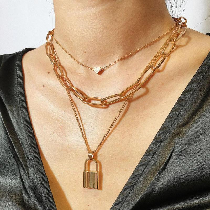 Кулон Ожерелья DVacaman Hip Hop Multi Slays Цепное ожерелье с замком сердца Женщины Punk Padlock Пара Ювелирных Изделий Подарки