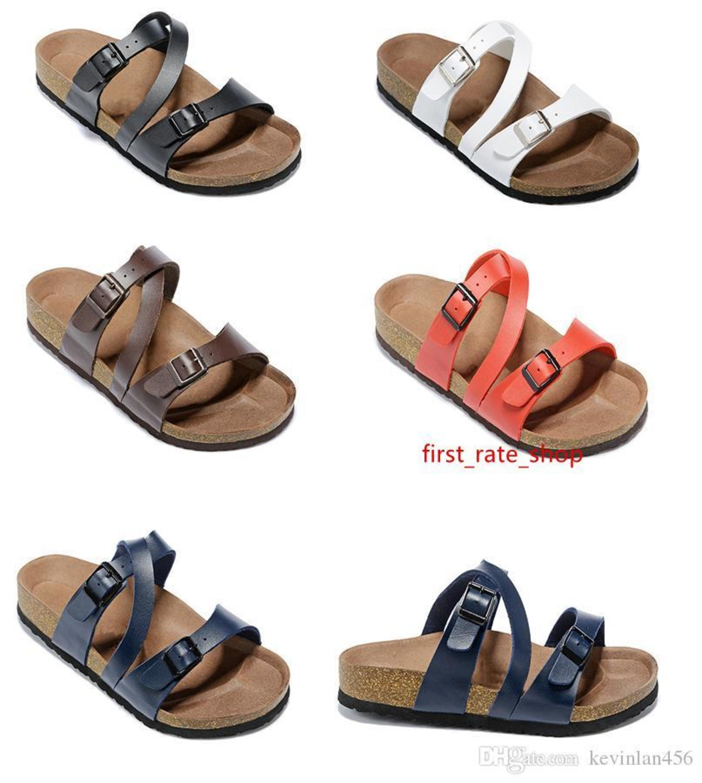 chaussures hommes concepteur hotsell avec boîte Orignal Hommes Femme Sandales plates Classics Casual Boucle Summer Beach Pantoufles en cuir véritable