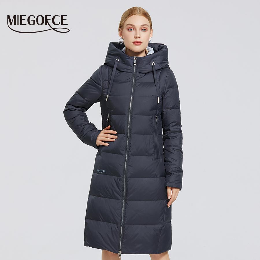 MIEGOFCE Yeni Kış Bayan Ceket Uzun bir Hood Soğuk Aşağı Isınma Coat Windproof Parkas 200.919 Down With Ceket yakası kalkık Isınma