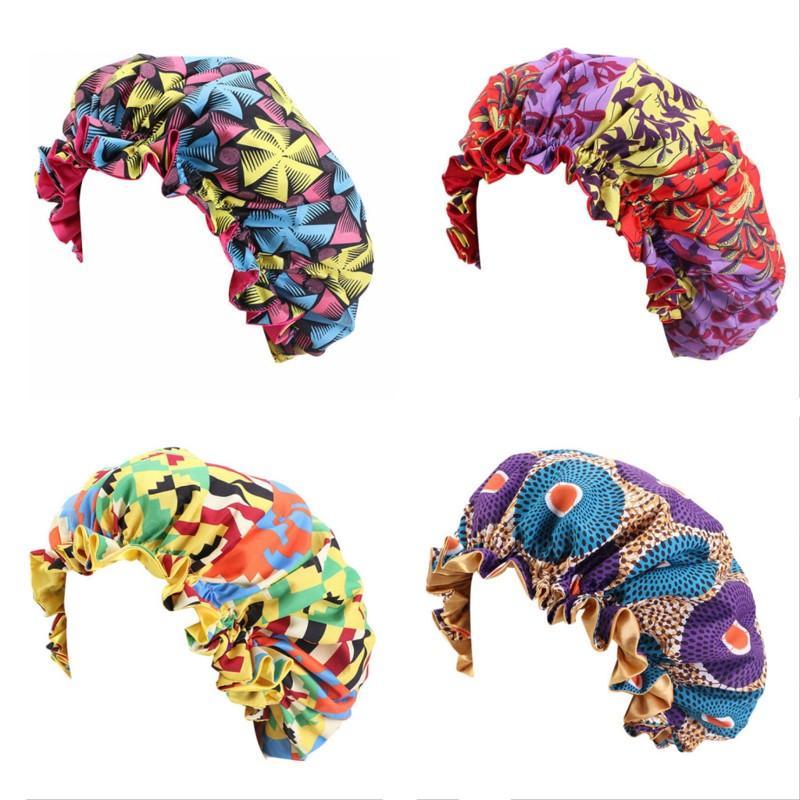 Frauen Tag Nacht Schlaf Cap Double Layer Satin Turban New African Muster-Druck-Bonnet Extra Large Kopfbedeckungen Damen-Kopf-Verpackungs-Hut