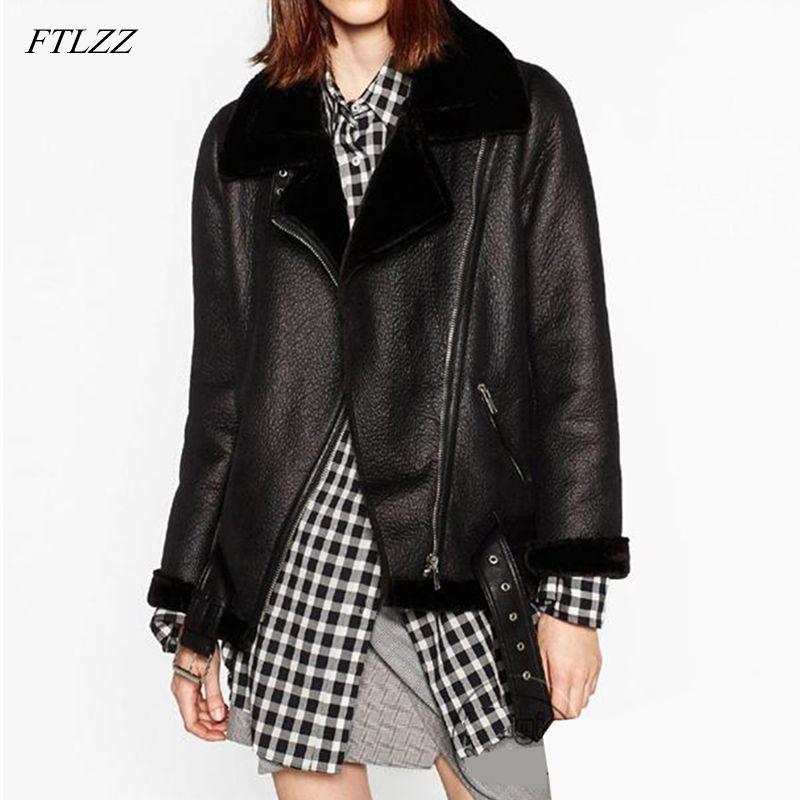 FTLZZ 2020 Nuovo Inverno donne rivestono di pelle di pecora cappotti addensare Faux T200915 Giacca di pelliccia femminile cappotto di pelliccia del rivestimento in pelle Aviator Jacket