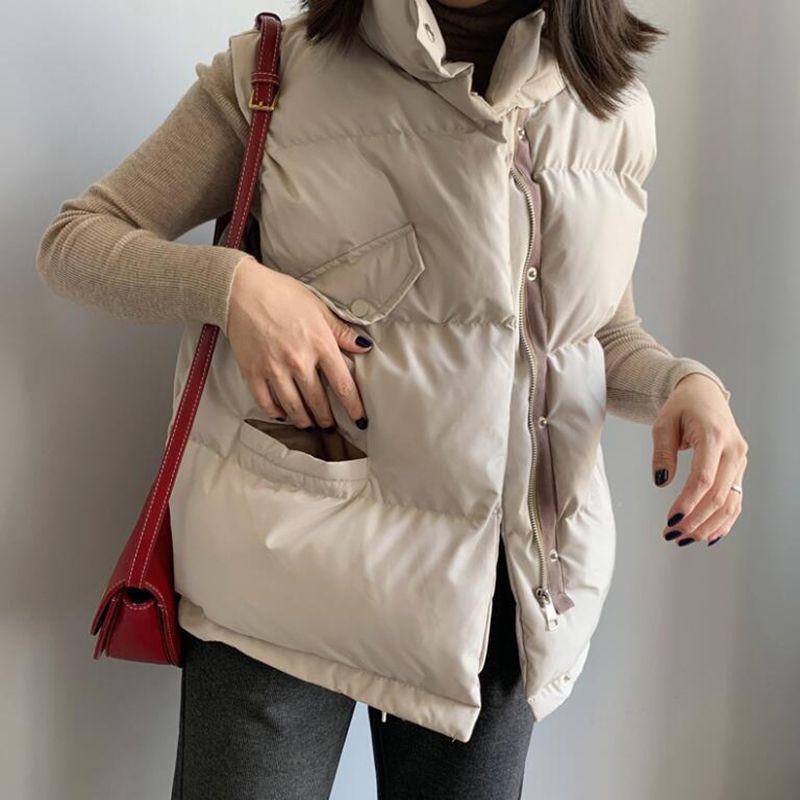 SEDUTMO Kış Oversize yelek kadın Parkas Streetwear Sonbahar Coat Kolsuz Vintage Yelek Casual Temel Dış Giyim ED1081
