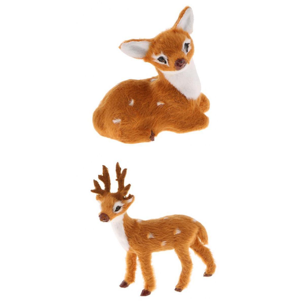 2pieces miniatura realista cervos Figurine estátua modelo Início presente decorativa