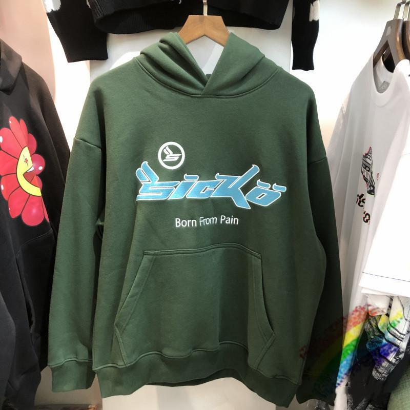 2021FWSS Bordado Hoodie Capuz Homens Mulheres Pesado Tecido Vintage Sweatshirts moda Pullovers