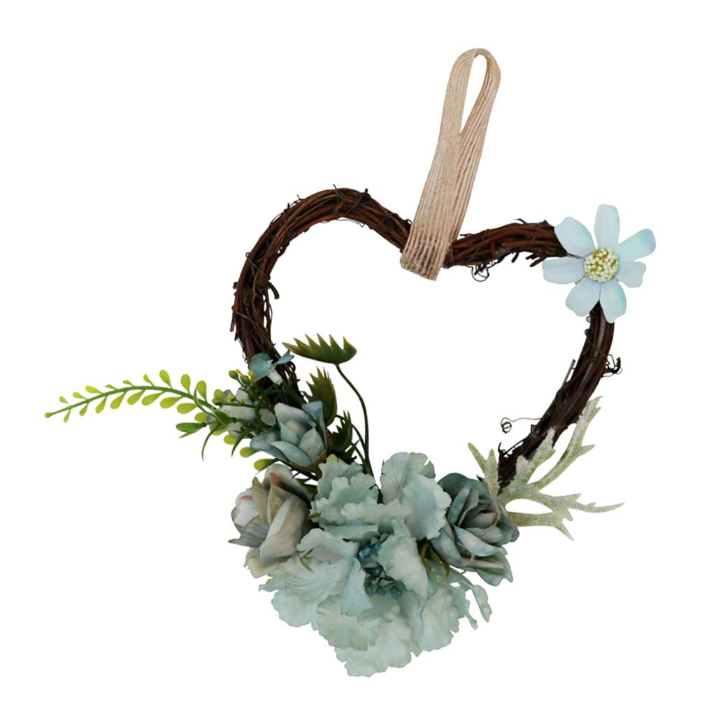 Rústico Coração Rattan Simulação Rose frente flor porta de verga grinalda Home Decor