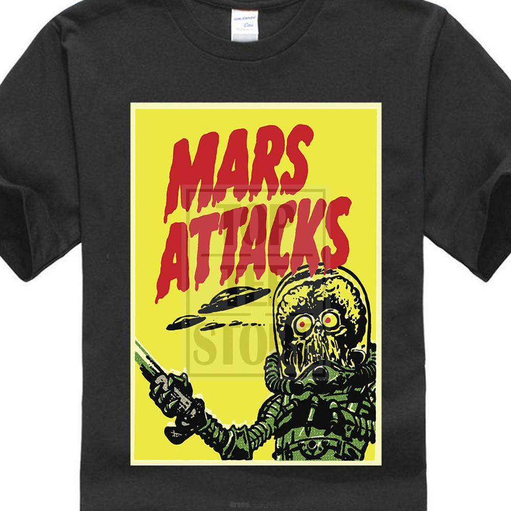 de manera simple extranjero Marte Ataques divertido Invasión moda de la película Hombres Ropa Top gris camiseta de impresión en 3D 100% algodón Camiseta