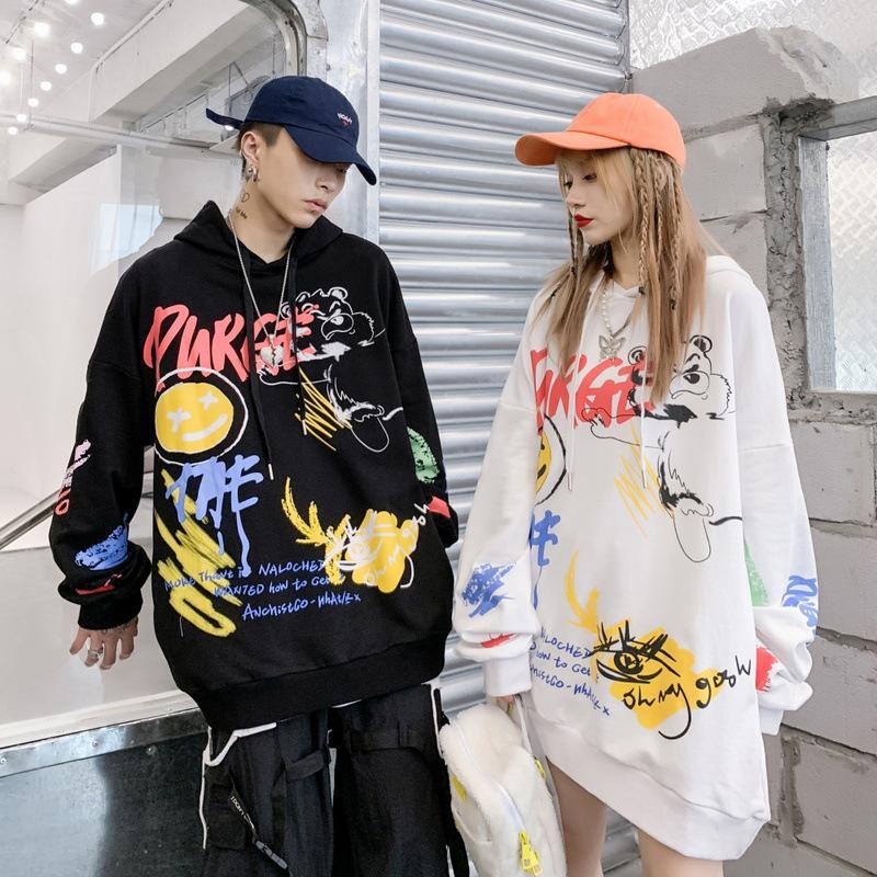 Designer High Street Tendência preto dos homens cinzentos Hoodies manga comprida solta Hip Hop com capuz Hoodies Casal Moletons tamanho M-2XL