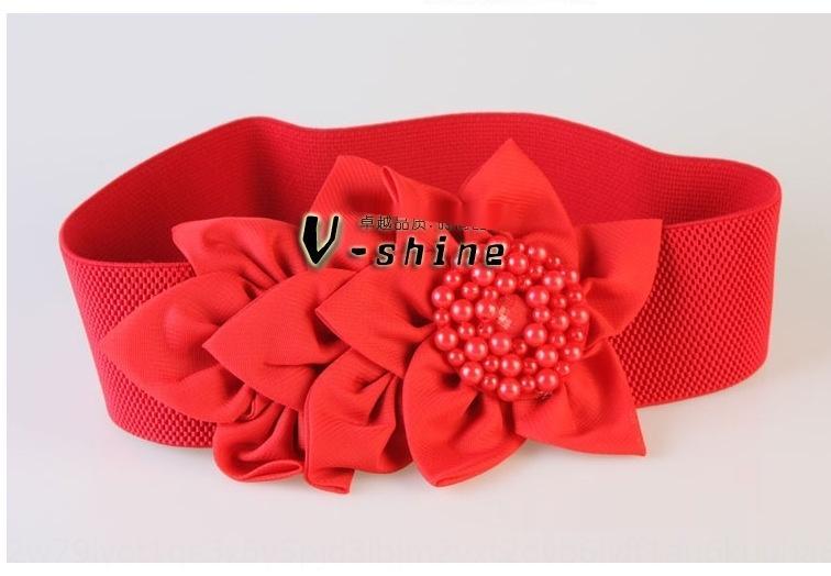 stile coreano grande fiore decorativo accessori abito cintura di moda di cintura elastica delle donne del tutto-fiammifero largo accessori abito vita sigillata S