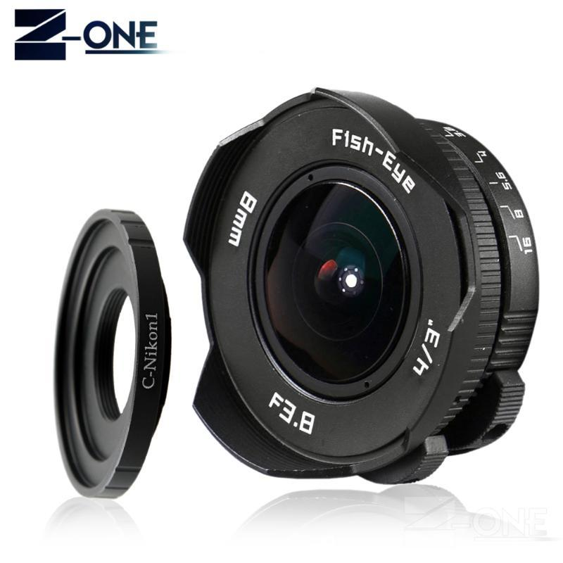 8mm F3.8 Fish-eye C mount Wide Angle Fisheye Lens Focal length Fish eye Lens Suit For Nikon 1 AW1 V1 V2 V3 J1 J2 J3 J4 J5 S1 S2
