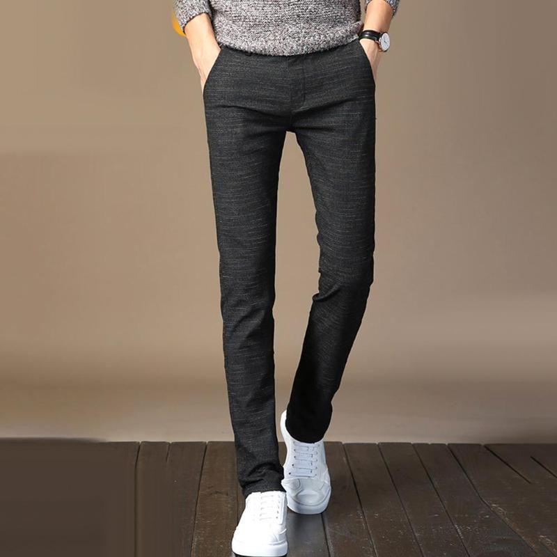 Pantalons Hommes Hommes Couleur Solide Couleur Zip Bouton Bouton Fermeture Pantalons Direct Long Business Pantalons Classique