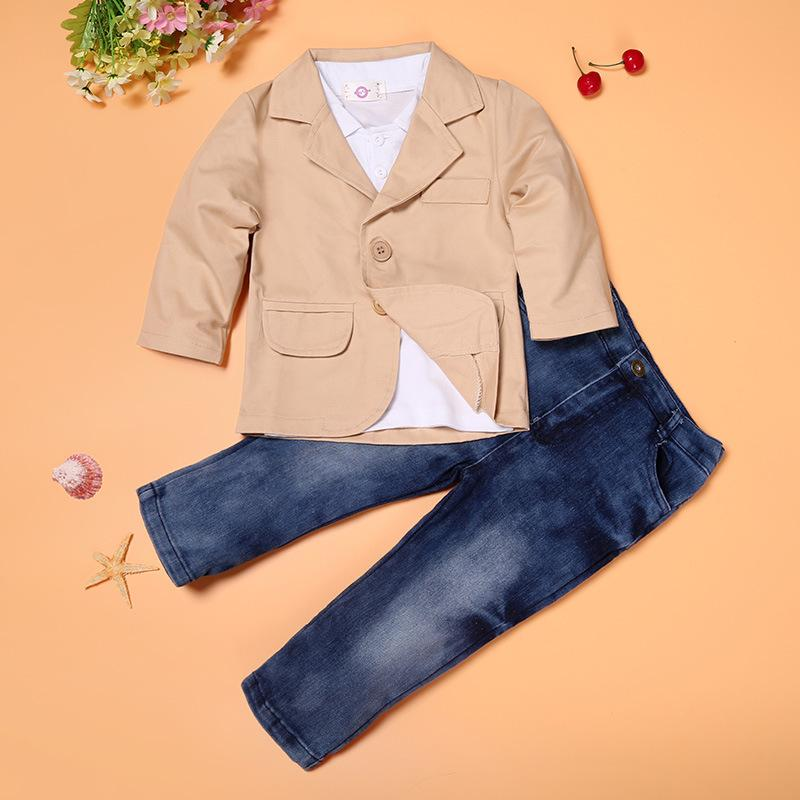 Spring Fashion Infant Baby Kleidung Herren Kinder Outfits Kleinkind-Baumwollanzüge Damen-Shirts Mäntel Jeanshosen Sets