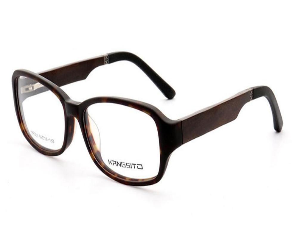 MONGOTEN Retro Moda Unisex Montura completa de madera progresiva templo multi-focal de la lente Gafas Leopard Ver Cerca Lejos gafas de lectura