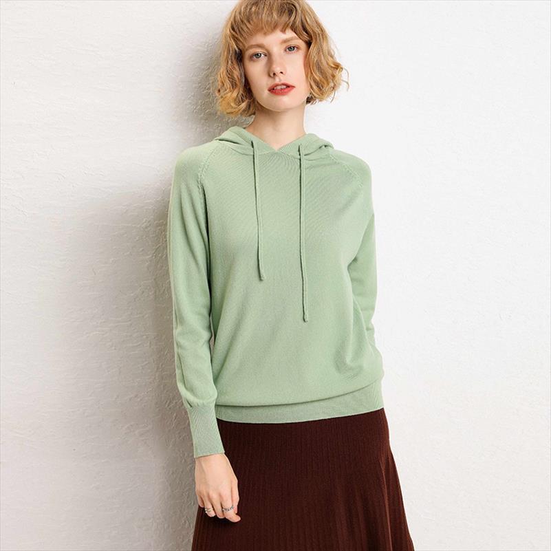 2020 Mujeres Invierno Sudaderas con capucha y sudaderas de punto de otoño Sudaderas cómodas Solid Gota Envío Buena Calidad