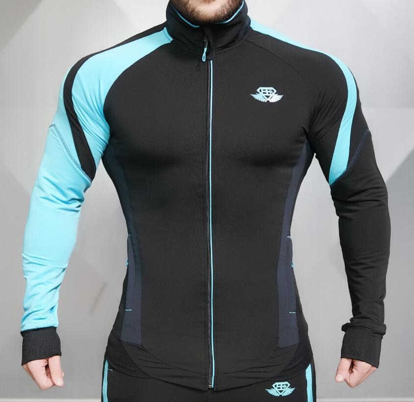 Muscular fitness Brothers men's casual jacket breathable running sports stitching Slim sweater a generation of fat