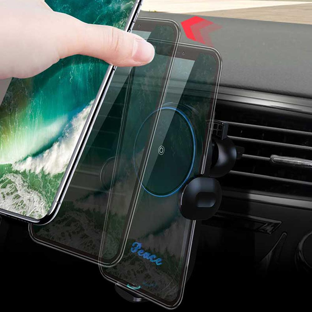 شاحن V30 سيارة شاحن لاسلكي حامل التلقائي الجاذبية تشى لاسلكي سيارة جبل شحن سريع حامل الهاتف لتحديد المواقع GPS
