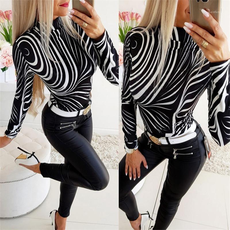 Designer-T-Shirt Art und Weise dünne Zebra-Muster-Standplatz-Kragen Langarm-T-Shirts der beiläufigen Frauen Kleidung 2020 Frühling-Frauen