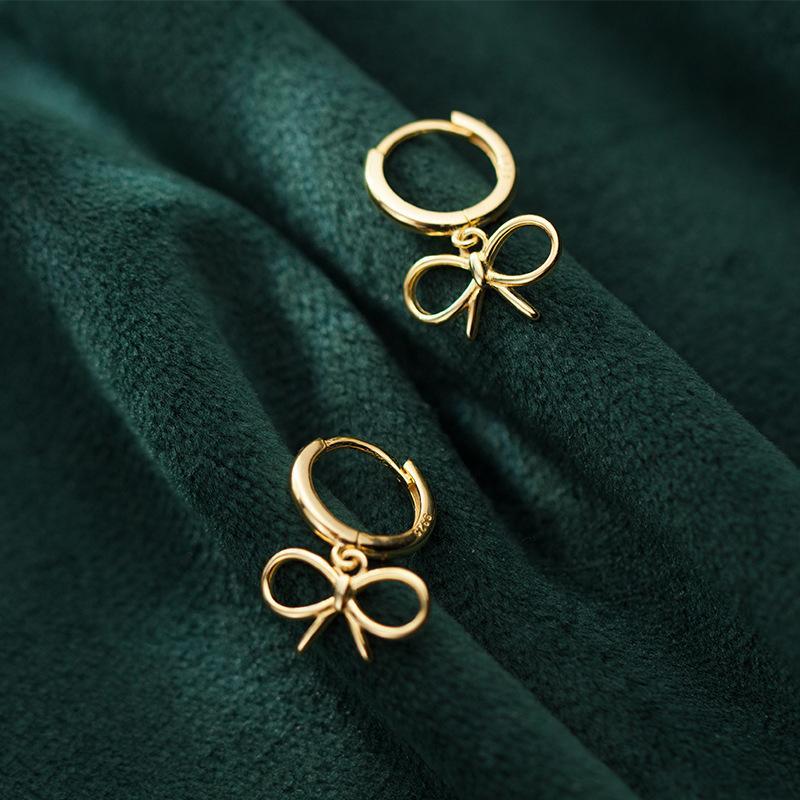 Modian Bowknot Shape Hoop Earrings Elegant Silver Earrings for Women Lady 925 Sterling Silver Fashion Gold Color Jewelry Gift