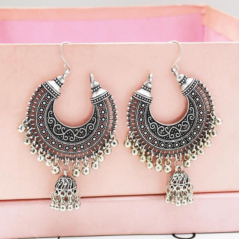 Vintage Big Langer Bell-Mond-geformten Band-Ohrringe für Frauen Antike Tibet Goldfarbe Kreis Ohr Boho Ethnischer Jhumka Schmuck