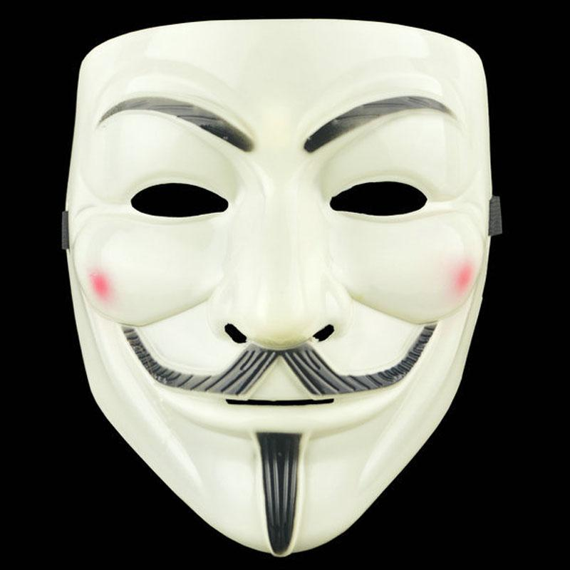 Mueca de horror de Halloween máscara de plástico V -Vendetta máscaras de la cara llena masculinos Máscaras Street Dance partido del traje de Cosplay Rol Ambiente Puntales VT1594