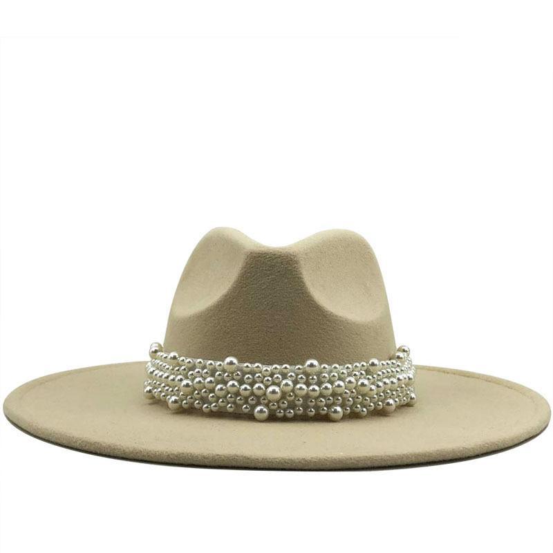 Yeni Kadın Geniş Ağız İmitasyon Yün Fedora Şapkalar Basit İngiliz Tarzı Süper Büyük Brim Panama Şapkalar Ile İnci Kemer