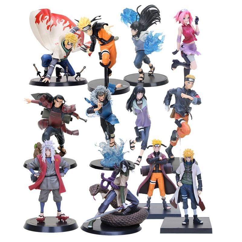 Anime Naruto Shippuden Hyuuga Hinata Kurama Jiraiya Senju Hashirama Minato Aktion PVC-Abbildung Spielzeug Brinquedos Y200811