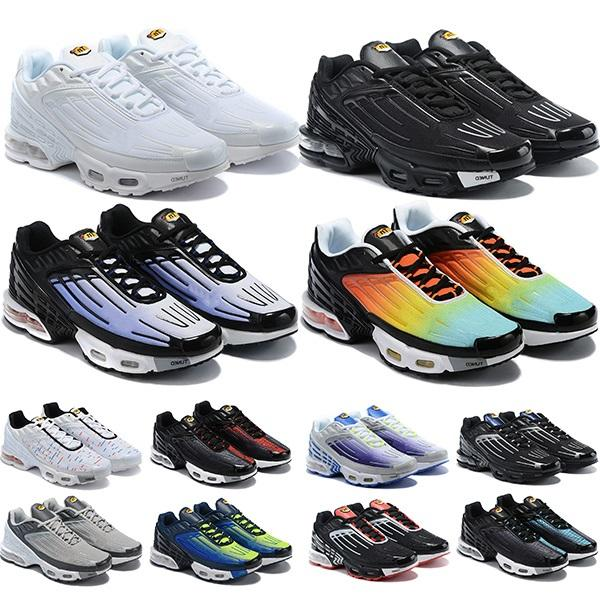 En Kaliteli TN Artı 3 Tuned Koşu Ayakkabıları Chaussures Üçlü Beyaz Siyah Hiper Mavi ABD Neon OG Mens Bayan Eğitmenler Sneakers Spor