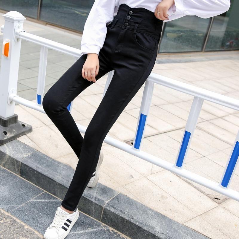 las mujeres de los pantalones vaqueros elásticos de la cintura alta pantalones de estiramiento largo negro pantalones lápiz otoño más grasa tamaño