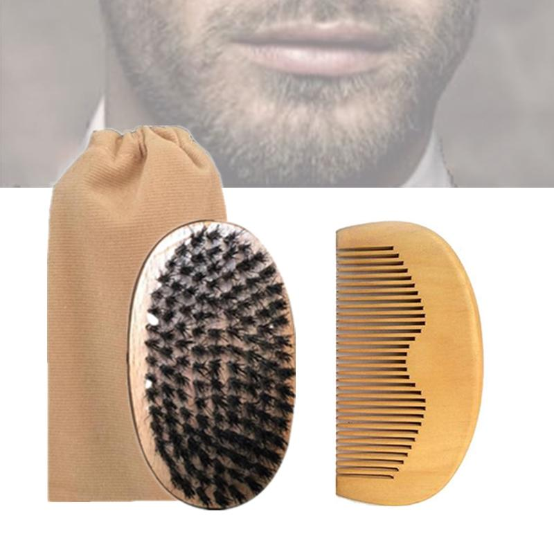 Classic 3in1 Boar Bristle Beard Brush & Peach Wood Comb Cotton Bag Bearded Men Travel Carry Makeup Fashion Hair Care Styling Grooming Tool