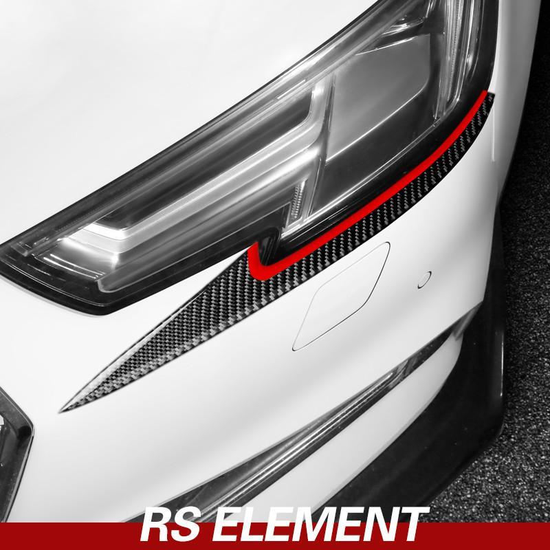 Auto Intérieur en fibre de carbone Phare avant Garniture autocollant lampe Sourcils couverture décoration bandes pour Audi A4 A5 2017-2022 Accessoires