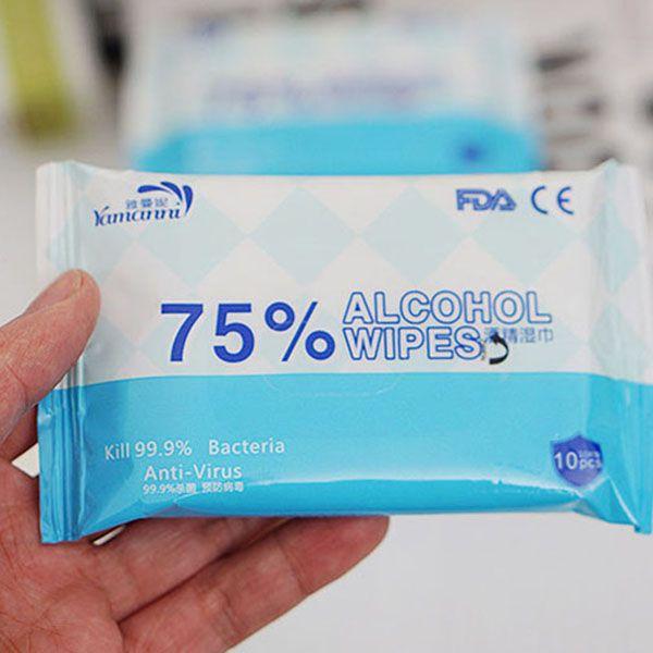 TWCH barato 10PCS / BAG 75% de álcool a toalha molhada limpeza das mãos do tecido lenços umedecidos portáteis fácil de transportar