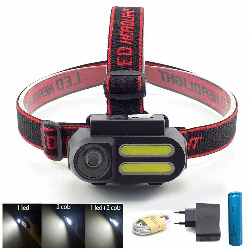 powerful 3 Led COB USB Headlamp headlight 18650 frontal mini head Lamp torch light Night Lighting linterna camping gAp0#
