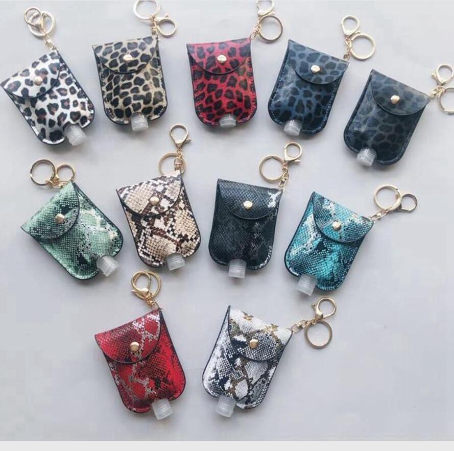 Leopard Sanitizer Bottle Bags Keychain With 30ML Empty Bottle Hand Sanitizer Holder PU Leather Perfume Bottle Cover Party Favor DDA545