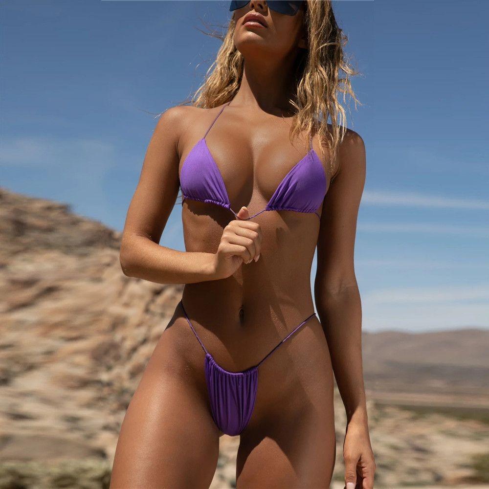 2 Piece Sexy Bikini Micro Women Swimsuit Bathing Suit Bikinis 2020 Mujer Push Up Swimwear Female Mini Viquini Set Maillot De Bain DRESS006
