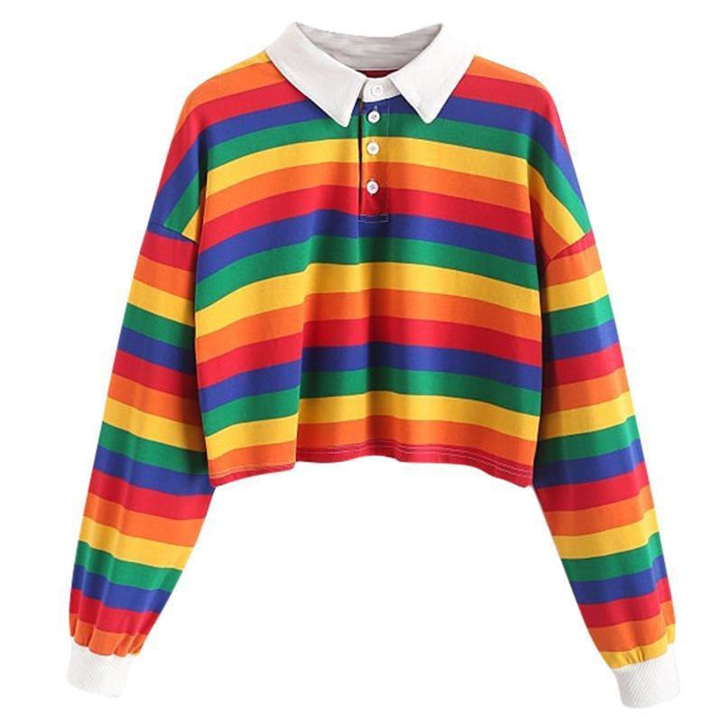 Arcobaleno felpa per le donne a righe Felpa manica lunga Pullover ritagliata modo casuale comodo giornaliera supera la camicetta # YL10