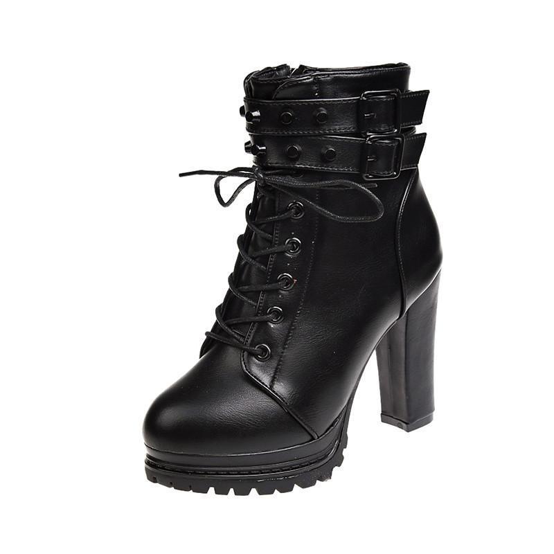 Женская Ботильоны Sexy Platform Pumps Winter Black туфлями Леди Мода пряжки ремень квадратный каблук Плюшевые Высокий каблук сапоги