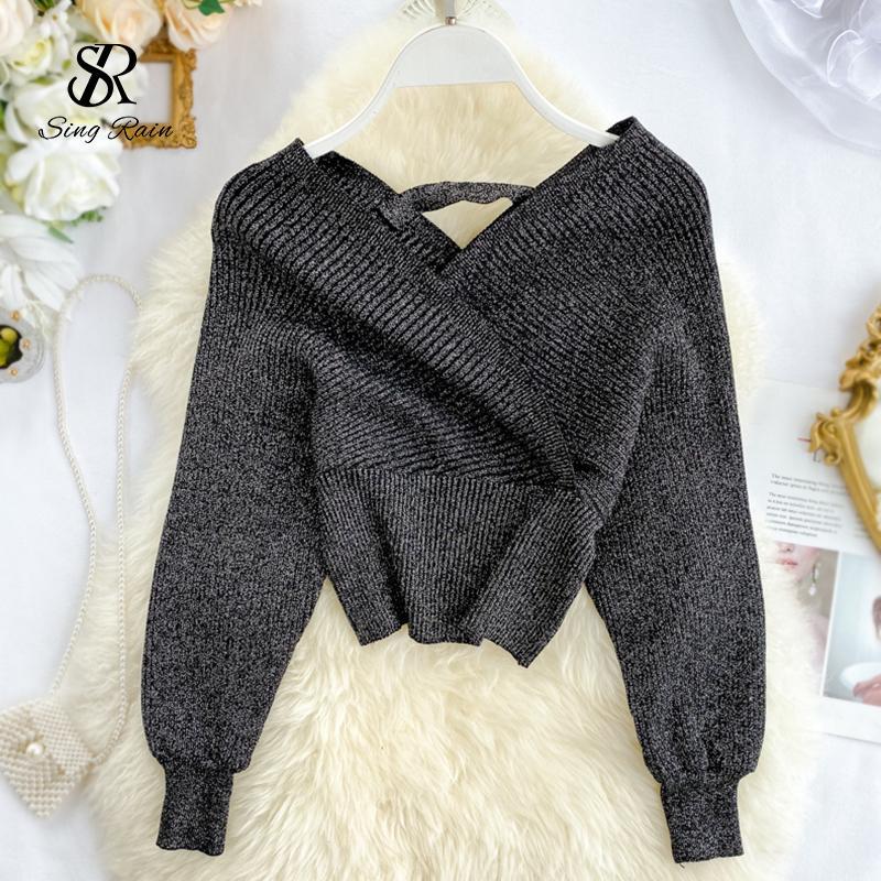 SINGRAIN Donne Shiny lurex maglione con scollo a V lungo manicotti di soffio Knit Tops fuori dalla spalla sexy elastico in vita lavorato a maglia camicetta maglione T200910