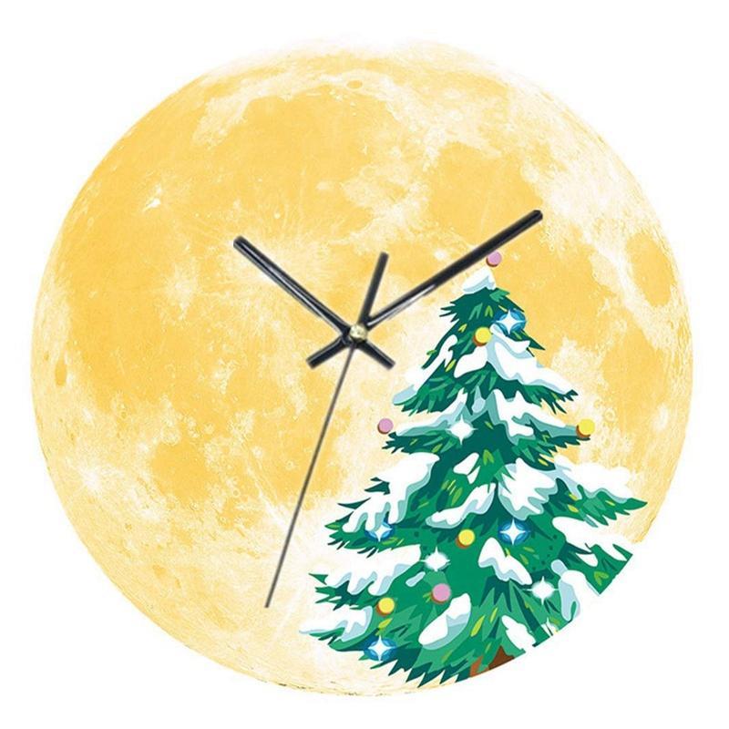 مضيئة القمر ساعة الحائط عيد الميلاد على مدار الساعة كتم الحائط الإبداعية الرئيسية غرفة المعيشة الديكور