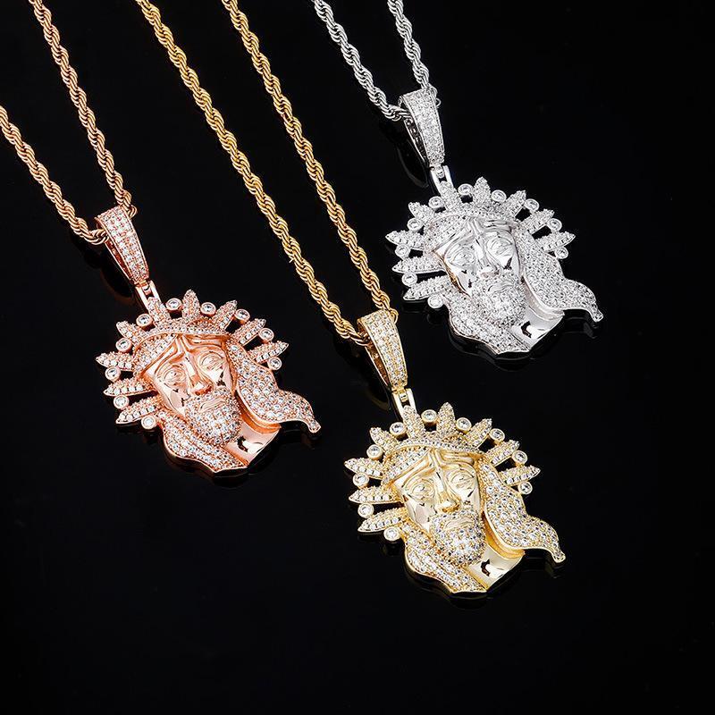 Mens Hiphop Jesús collares con colgante de diamante completo de 18 quilates chapado en oro de Hip Hop Jewellry marca de diseño 2020 Nueva rapero collares pendientes