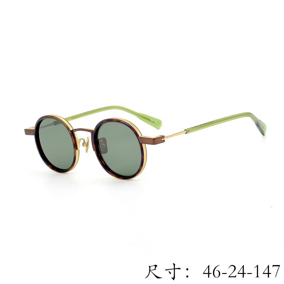 Vintage di qualità Retro piccola rotonda Uv400 polarizzata Caso Grave puro titanio occhiali da sole di modo di stile scatola originale