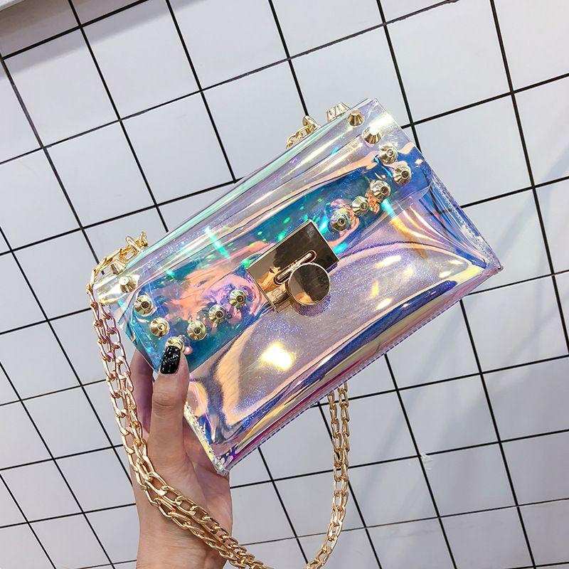 Laser-Paket 2020 Sommer-neue Frauen-Ketten-Beutel Transparent Platz Sling Bag Riveting Nagel Frauen Mini