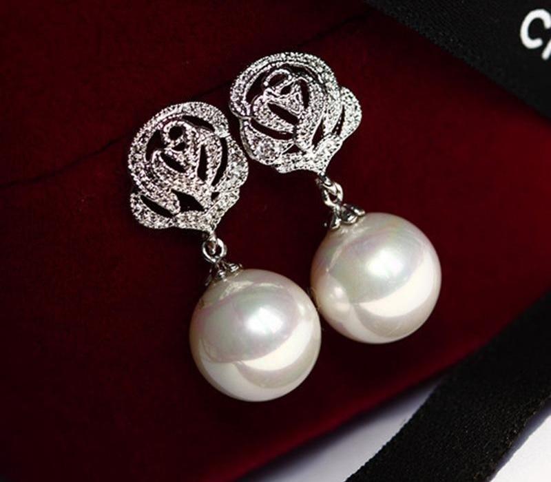 VE-14 Imitation Rose Zircon alliage perle Boucles d'oreilles pour femmes Bijoux 2020 Tempérament Stud Earrings66
