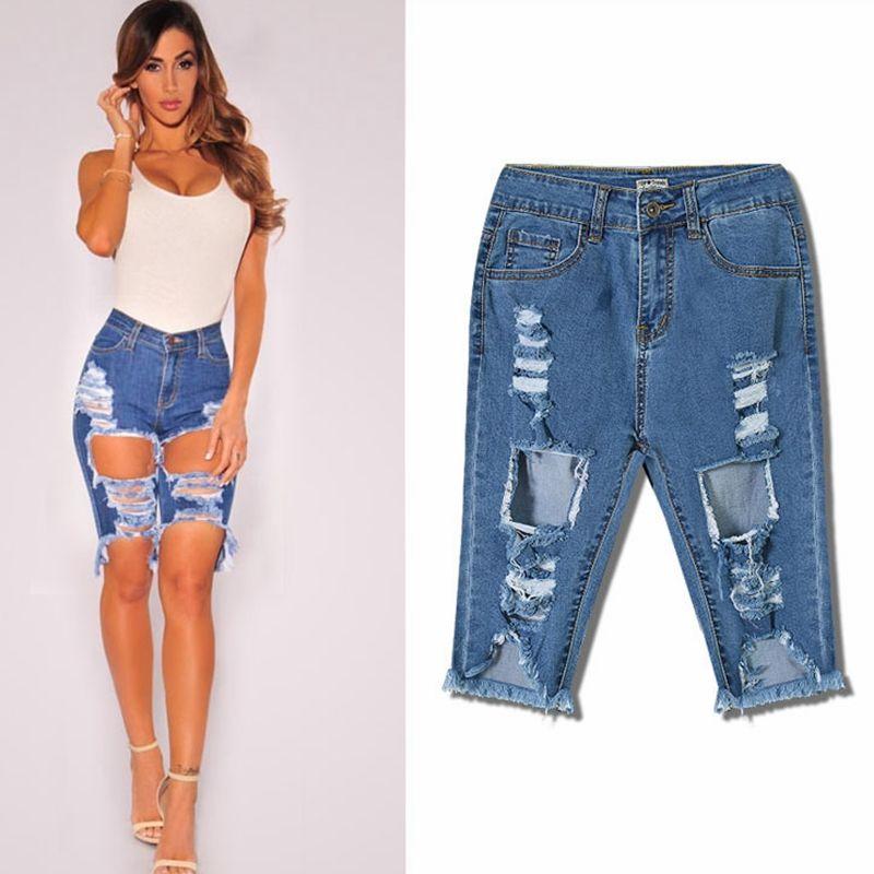 Cintura alta jeans rasgados calções mulheres calças no joelho ocasional calça jeans comprimento denim mais a mulher do tamanho