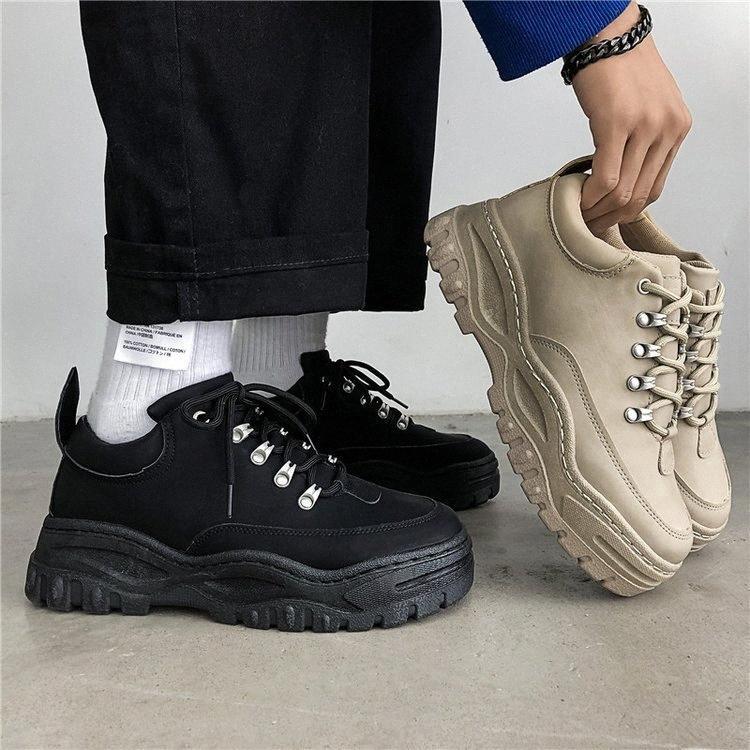 Scarpe da uomo nuovo modo 2019 Man vulcanizzare scarpe casual in pelle Chunky da tennis degli uomini traspirante Pu Tenis Masculino 2Kek #